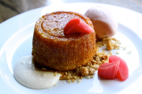 Apple Upside Down Cake - rhubarb, oat streusel, buttermilk rhubarb ice cream